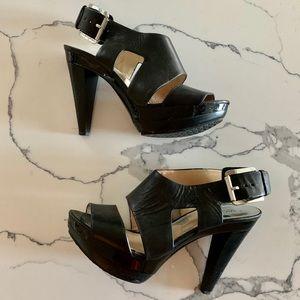 Michael Kors Black Leather Platform Heel